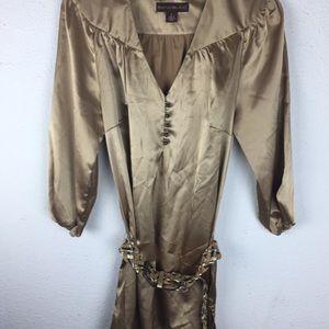 Bandolino Belted Tunic Gold  Dressy Sz 6  B16